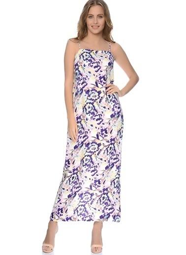 House Of Camellia House Of Camellia Çok Renkli Askılı Desenli Kadın Elbise Renkli